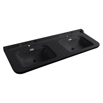 Kerasan Waldorf Раковина керамическая двойная 150х55см, 3 отв., цвет: черный/бронза