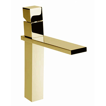 """Bossini Cube Смеситель для раковины на 1 отв., высокий с заглушкой 1""""1/4, цвет: золото"""