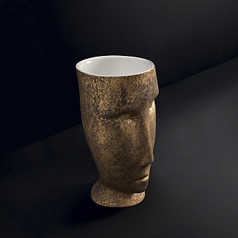 "Kerasan Artwork Раковина 94.5х39х44 см, свободностоящая ""MOLOCO"", слив в стену, цвет: белый/античное золото"