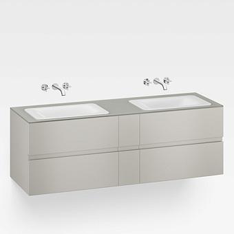 Armani Roca Baia Тумба подвесная с 2 раковинами, 179.4х59х61см с 4 ящиками, со столешницей, цвет: silver