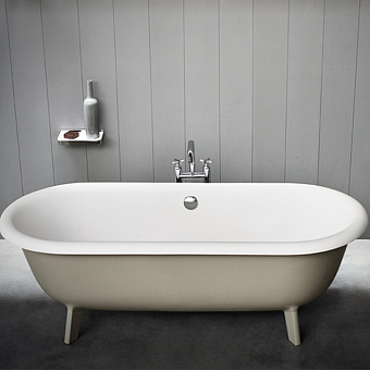 Agape Ottocento Small Ванна отдельностоящая 155x77.5x58 см, слив-перелив полированный хром, цвет: светло-серый