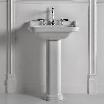 Kerasan Waldorf Раковина керамическая 60х55см с пьедесталом, 3 отв., цвет: белый / хром