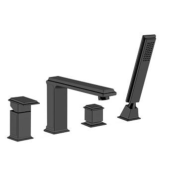 Gessi Eleganza Смеситель для ванны на 4 отверстия, с переключателем, изливом и ручным душем, цвет: черный металлик