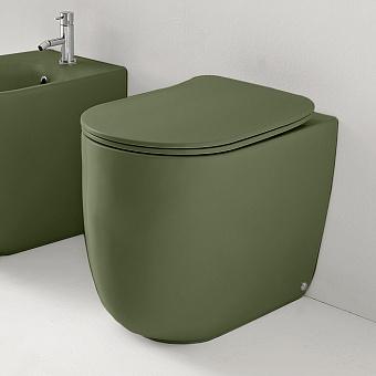 Kerasan Nolita Унитаз безободковый пристенный 55х35 см, с креплениями WB5N, цвет: Verde muschio