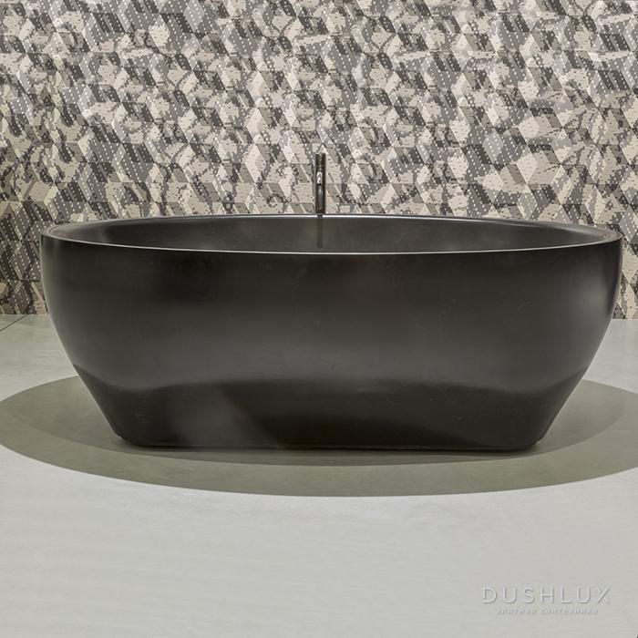 Antonio Lupi Solidea Ванна отдельностоящая 210х130х50 см из натурального камня, цвет: Nero Marquinia