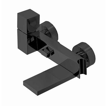 """Bossini Cube Смеситель наружный с девиатором, держатель для душевой лейки  с гибким соединением 1/2"""", цвет: черный матовый"""