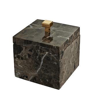3SC Palace MARMO Баночка универсальная, 11x11xh13,5 см, с крышкой, настольная, цвет: мрамор nero marquinia/золото 24к. Lucido
