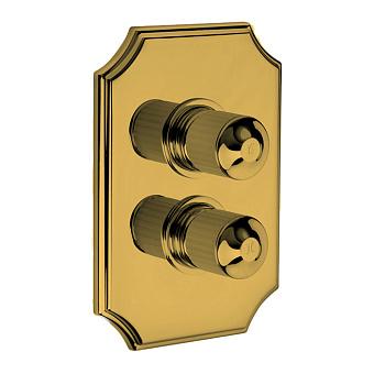 Bongio Cristallo Внешняя часть встроенного смесителя на 2 выхода , цвет золото, ручки прозрачный cristallo 00