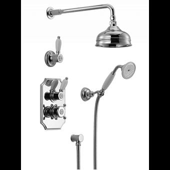 HUBER Victorian Комплект:термостатический смеситель c запорным вентилем,переключатель,верхний душ Easy Clean,ручной душ со шлангом на держателе,вывод, цвет хром
