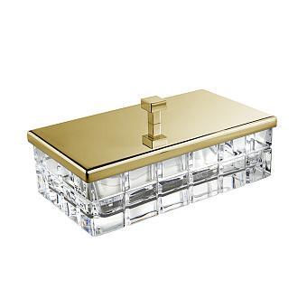 3SC Palace Коробочка универсальная, 23х12,5хh10см, с крышкой, настольная, цвет: прозрачный хрусталь/золото 24к. Lucido