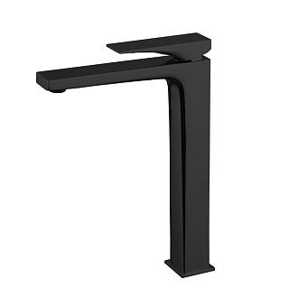 Carlo Frattini Zeta Смеситель для раковины, высокий, на 1 отверстие, донный клапан click-clack, цвет: чёрный матовый