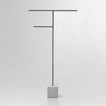 Antonio Lupi Bivio Полотенцедержатель напольный, база из мрамора Carrara satinato, структура из латуни, цвет: Satin steel finish