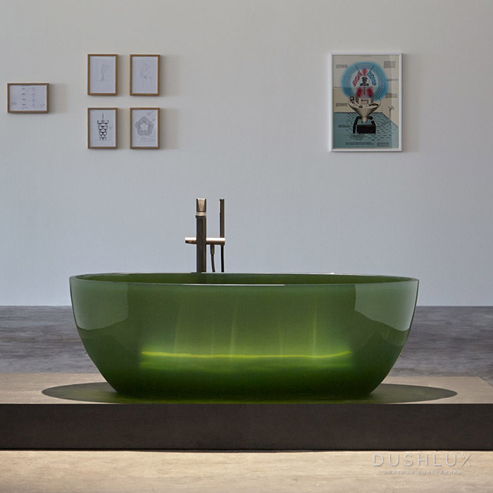Antonio Lupi Reflex Ванна отдельностоящая, овальная, 167х86х53см, Cristalmood, цвет: Bottiglia