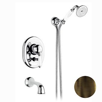 Nicolazzi P.m. Blanc Смеситель для ванны однорычажный, встраиваемый, с изливом 160мм и ручным душем, ручки белая керамика, цвет: тёмная бронза