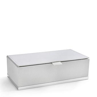 3SC Snowy Коробочка универсальная, 25х13хh8см, с крышкой, настольная, цвет: белая эко-кожа/белый матовый