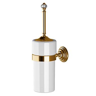 Devon&Devon Gemstone Ерш для унитаза, подвесной в керамической колбе, цвет: античная латунь/белый