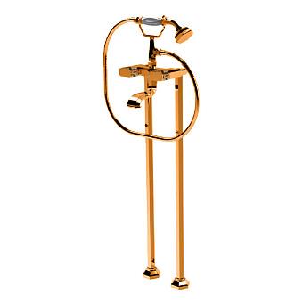Petracers Divino Ultra, Наружный комплект кранов для ванны на напольных высоких стойках, отделка ручек: кожа питона, цвет: бронза