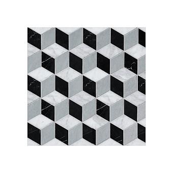 Devon&Devon Elite Плитка из натурального камня 34.5x34.5см, универсальная, мрамор, elite 7, цвет: white carrara/black marquinha/grey bardiglio
