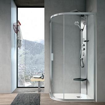 Hafro Sound Душевая кабина 90X90см угловая полукруг COMFORT: форсунки, верх.душ, сиденье, распределитель пара, поддон h14; зеркальная