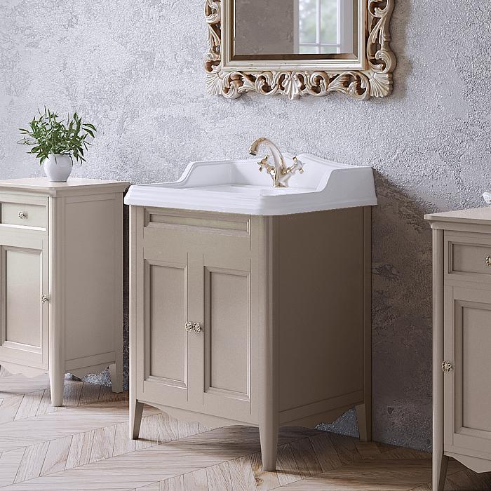 TW Veronica Nuovo комплект мебели с 2-мя дверцами, с доводчиками Blum, ручки: бронза, 68см, Цвет: tortora