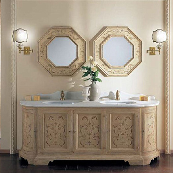 Mobili Di Castello Patmos Комплект мебели 80х205х60 см: напольная тумба, мраморная столешница, 2 керамические раковины, 2 резных зеркала, мрамор Bianco perlino/декор Patmos