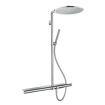 Axor ShowerSolutions Душевая стойка с термостатом, верхним душем Ø350мм, 1jet, шлангом, ручным душем и полочкой, цвет: хром