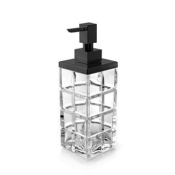 3SC Palace Дозатор для жидкого мыла,  настольный, цвет: прозрачный хрусталь/черный матовый