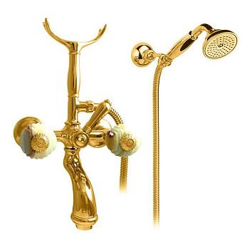 Nicolazzi Onice  Смеситель для ванны с 2мя ручками, с переключателем ванна/душ, + комплект руч. душа, цвет: золото