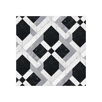 Devon&Devon Elite Плитка из натурального камня 24.3x24.3см, универсальная, мрамор, elite 17, цвет: white carrara/black marquinha/grey bardiglio