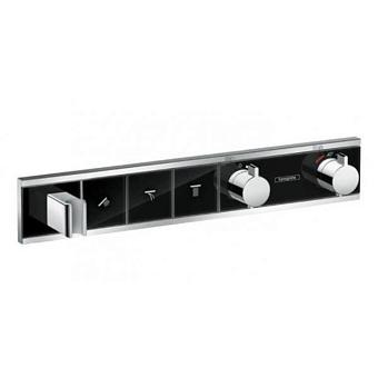 Hansgrohe RainSelect Смеситель для ванны, термостатический, 3 источника, СМ, цвет: черный/хром