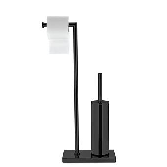 3SC Piantane Напольная стойка с держателем тб и ёршиком, цвет: черный матовый