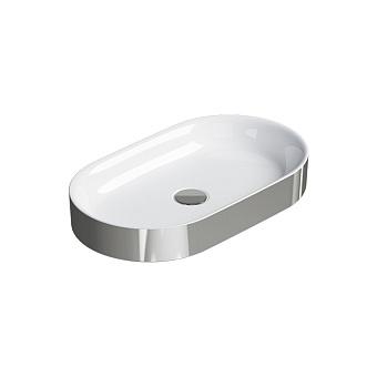 Catalano Horizon Раковина накладная 60х30хh:8.5см., без перелива, цвет: серебро/белый
