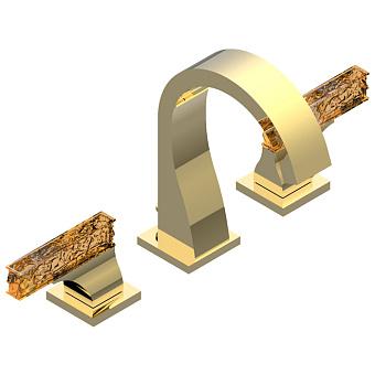 THG Ginkgo Смеситель для раковины, цвет золото/хрусталь