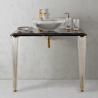 3SC Elegance Консоль 70х54хh97см с раковиной EL11, топ-мрамор bianco carrara, сифон, цвет: золото 24к. Lucido