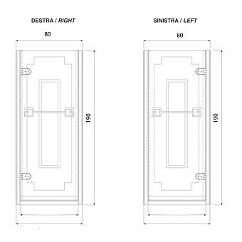 Душевая дверь Gentry Home Athena 80х190 см (открытие слевасправа), прозрачное, закаленное стекло 8 мм с греческим матовым декором, ручка и профиль - хром