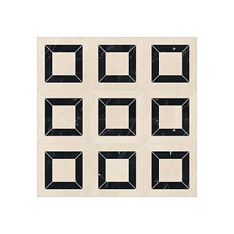 Devon&Devon Elite Плитка из натурального камня 60x60см, универсальная, мрамор, elite 9, цвет: crema marfil/black marquinha