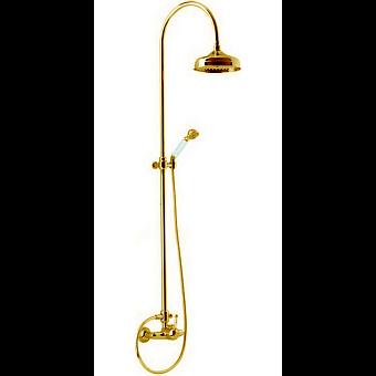 CISAL Arcana Empress Душевой комплект: смеситель, стойка с верхним душем, лейка+шланг, цвет золото
