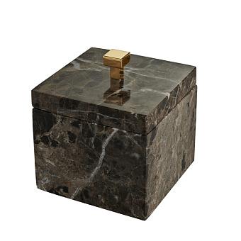 3SC PALACE EM.DARK Баночка универсальная, 11x11xh13,5 см, с крышкой, настольная, цвет: мрамор Emperador dark/золото 24к.
