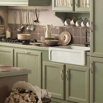 Kerasan Hannah Yorkshire Раковина кухонная 758x470x254 мм, без отв под смеситель, цвет: белый