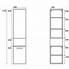 KERASAN Шкаф подвесной, 40х24х175 см с 2 дверями, петли слева,  цвет rovere scuro темный дуб