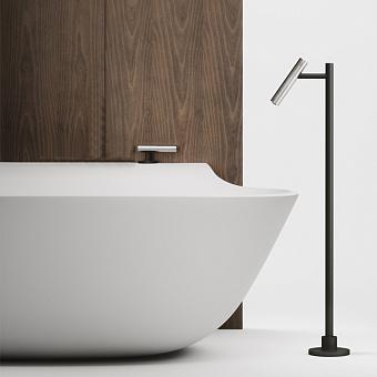 Falper Cilindro Смеситель на борт ванны, излив напольный, цвет: нержавеющая сталь/черный
