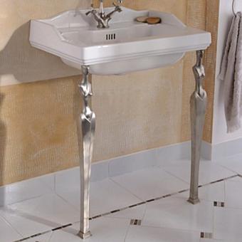 Herbeau Monarque Раковина на ножках, 70,5х48 см, цвет белый/хонингованный никель