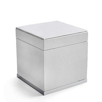 3SC Snowy Коробочка универсальная, 14х14хh14см, с крышкой, настольная, цвет: белая эко-кожа/хром