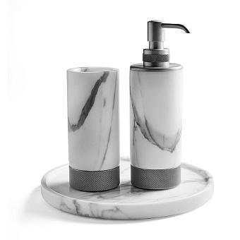 3SC Apuana 2.0 Комплект: стакан, дозатор и лоток, цвет: мрамор Bianco Statuario/хром