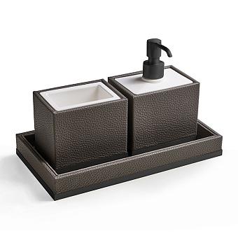 3SC Milano Комплект: стакан, дозатор, лоток, цвет: коричневая эко-кожа/черный матовый