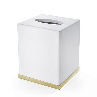 3SC Mood Deluxe Контейнер для бумажных салфеток, 12х12х14 см, квадратный, настольный, композит Solid Surface, цвет: белый матовый/золото 24к. Lucido