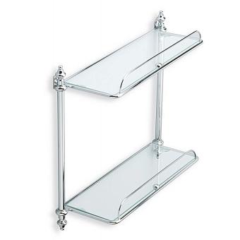 StilHaus Elite Полочка стеклянная с ограждением, двухуровневая, подвесная, цвет: хром