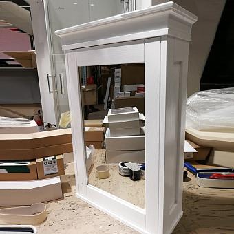 EBAN Зеркальный шкаф 58х20х84h см, с 2мя полочками, 1 дверца с плавным закрыванием, DX (петли справа), цвет: bianco decape