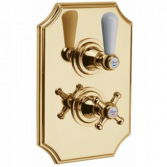 Bongio Oxford Lux, Смеситель термостатический для душа, цвет: золото/белый фарфор