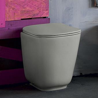 Kerasan Tribeca Унитаз напольный пристенный 55х35см, безободковый, c креплением WB5N, цвет: Grigio matt